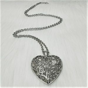 Silver Heart 3D Pendent Necklace with Long Chain